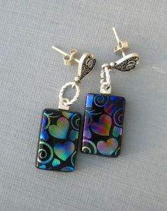 Your place to buy and sell all things handmade Fire Glass, My Glass, Glass Art, Fused Glass Jewelry, Glass Earrings, Beaded Jewelry, Pottery Angels, Rainbow Heart, Dichroic Glass