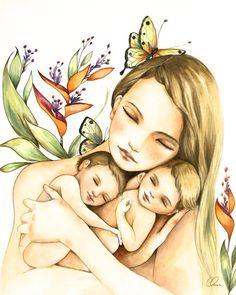 Moeder en twins kunst print van claudiatremblay op Etsy