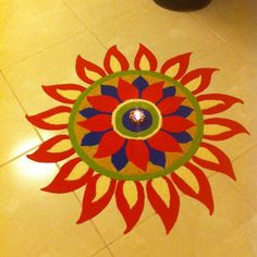 Decorate your home with small rangoli designs at this festive season. Browse the best collections of small and creative rangoli design ideas for Diwali. Rangoli Colours, Rangoli Patterns, Rangoli Ideas, Rangoli Designs Diwali, Diwali Rangoli, Free Hand Rangoli Design, Small Rangoli Design, Colorful Rangoli Designs, Beautiful Rangoli Designs