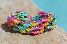 Rubberband Friendship Bracelet Rainbow colors with beads- Rainbow Loom