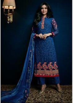 Ethnic Wear Navy Blue Georgette Salwar Suit - 74753