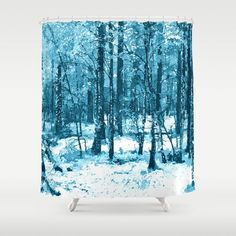 Is winter coming? Blue enchanted forest, magical nature, beautiful view, calm place, wild nature pinting - Up to $34 Off + Free Shipping on Bedding & Bath items like Duvets, Bath Mats and More - Sale Ends Tonight at Midnight PT! #winter #forest #shower #curtain #art #snow