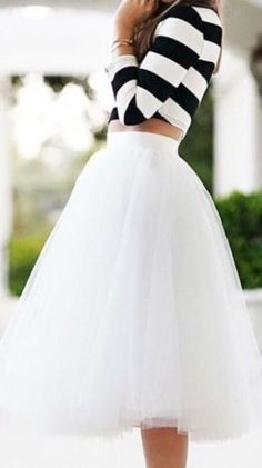 A cute crop top paired with tulle.