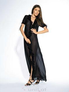 Wygodny, długi i elegancki szlafrok z szyfonu, z krótkim rękawem Zapewnia poczucie komfortu i luksusu.