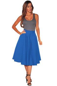 Royal Blue Flared A-Line Midi Skirt