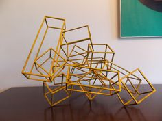Wonder if Hub will want to build a popsicle stick version of this...(VTG Modern Art Geometric Kinetic Sculpture)