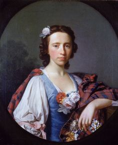 Portrait of Flora MacDonald by Allan Ramsay.  18th century Scottish women's clothing.