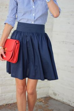 Nothing like a good-fitting, high-waisted, easy summer skirt and crisp button down.  I love the pop of color too!