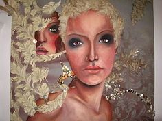 Oil paint, distressed lace, applique & embroidery