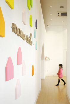 """Built by Emmanuelle Moureaux Architecture + Design in Mito, Japan with date Images by Daisuke Shima / Nacasa & Partners . A Miniature Colorful Town """"Mama smile"""" is an indoor playground facility for families located inside the shopping mal. Kindergarten Interior, Kindergarten Design, Design Maternelle, Architecture Design, Japan Design, Kids Cafe, Centre Commercial, Indoor Playground, Nursery Design"""