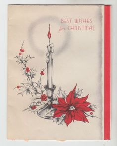 Vintage-Poinsettia-By-Candle-With-Holly-Christmas-Greeting-Card