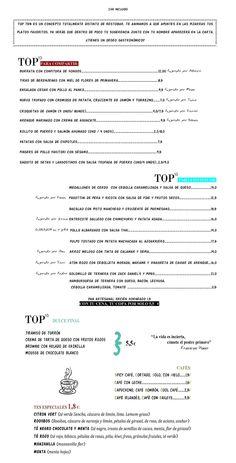 Top Ten Restaurante. Carta