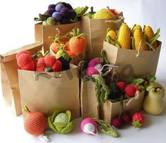 """Yarn Fresh"" Fruits & Vegetables! no link but colorful and ideas of what  patterns to look for.  PACK A rainbow in your lunch"