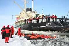 """The icebreaker Sampo has opened a """"pool"""" in the frozen Gulf of Bothnia near the city Kemi, Finland. Icebreakers, World Records, The Republic, Arctic, Finland, Kayaking, Places To Go, National Parks, Adventure"""