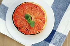 Broiled Grapefruit Preheat broiler and halve 1 chilled grapefruit. Sprinkle each half with ½ tsp. sugar and ¼ tsp. cinnamon. Broil both halves on a baking sheet for 3-5 minutes.- Great for Christmas grape fruits when you want something warm to eat!