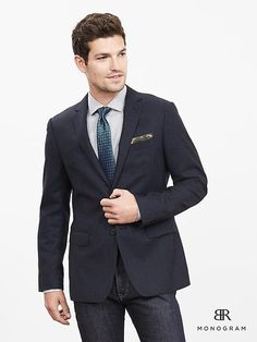 BR Monogram Brushed Italian Wool Suit Jacket | Banana Republic