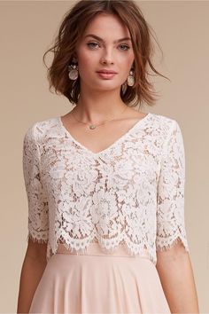 lace crop top - bridal separates - Libby Top from BHLDN Bridesmaid Separates, Bridal Separates, Lace Bridesmaids, Cheap Bridesmaid Dresses, Crop Top Elegante, Wedding Jacket, Dress Wedding, Wedding Poses, Wedding Ideas