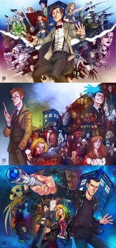 Check out this incredibly awesome set of Doctor Who poster fan art created by ElectroCereal. He's created three illustrations; one for the ninth, tenth, and eleventh doctors. Each illustration that was created includes a note from the artist.