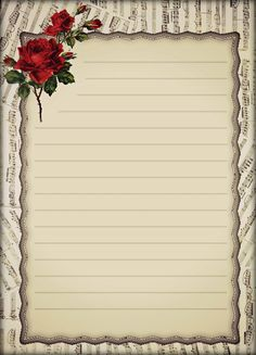 Printable Lined Paper, Free Printable Stationery, Flower Background Wallpaper, Flower Backgrounds, Lined Writing Paper, Notebook Paper, Borders For Paper, Journal Paper, Stationery Paper