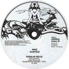"Mike Oldfield ""Tubular Bells"" Virgin Records The Original Virgin Records… Tubular Bells, Mike Oldfield, Roger Dean, Virgin Records, Vinyl Labels, Progressive Rock, Label Design, Rock Art, Rock N Roll"