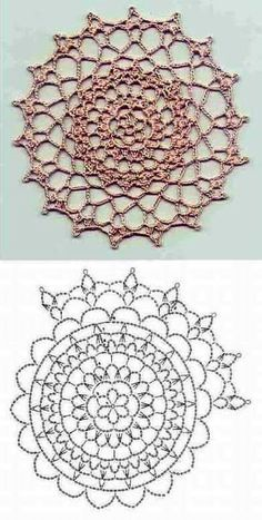 17 ideas for crochet mandala coaster doily patterns Crochet Doily Diagram, Crochet Mandala Pattern, Crochet Circles, Crochet Stitches Patterns, Crochet Chart, Crochet Squares, Granny Squares, Knitting Patterns, Lace Doilies