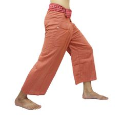 Orange Thai Fisherman Pants with Thai hand woven fabric on waist side, Wide Leg pants, Wrap pants, Unisex pants  $25.00 Free shipping