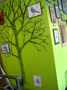 'Yarn stitched' tree for wall décor....