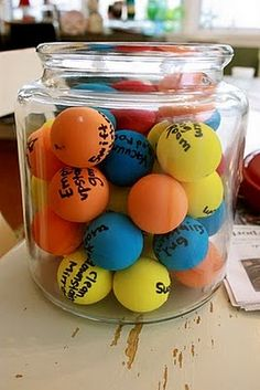 """I thought this was clever so I had to re-pin it:   """"I made these into reward balls.  I had the kids pick rewards, then I wrote a reward on each ball.  At the start of each day the kids pick a ball and work towards that goal with good behavior!  Great for my son with ADHD!"""""""
