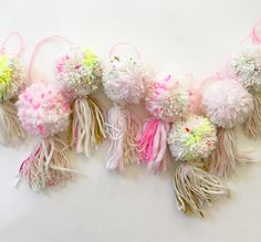 This lovely garland has soft colors of pinks and cream and perfect pops of neon. It's the perfect mix of colorful and bohemian, and adds the right amount of texture to any room. Craft Stick Crafts, Easy Crafts, Diy Garland, Garlands, Pom Pom Crafts, Easter Bunny Decorations, Easter Crafts For Kids, Crochet Patterns For Beginners, Baby Blanket Crochet