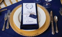 Love this blue and gold place setting! See more from this navy and cream Memphis wedding inspiration at @cadrebuilding! Styled by @saltstyle with pics by @lyndsimetzphoto, rentals by @classicpr, stationery by Courtney Joy Paper   The Pink Bride www.thepinkbride.com