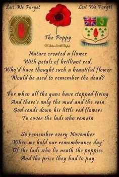 Poppies and Remembrance Day ♥ Lest We Forget.