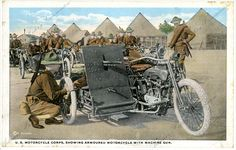 United States Motorcycle Corps, showing armored motorcycle with machine gun during WWI, Arkansas History Commission G6174.19