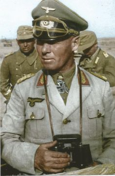·Rommel· The Desert Fox was perhaps Germany's greatest military leader. He was forced to commit suicide for his role in a conspiracy against Hitler. German Soldiers Ww2, German Army, Ww2 History, Military History, Afrika Corps, Erwin Rommel, Field Marshal, German Uniforms, Panzer