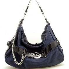 Bow front faux suede croco embossed trim hobo handbag (Navy Blue ...