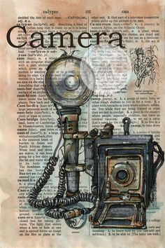 PRINT:  Camera Mixed Media Drawing on Distressed, Dictionary Page