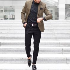 Brown blazer and black outfit by @rowanrow  [ http://ift.tt/1f8LY65 ] #royalfashionist