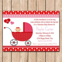 89 Best Valentine Baby Shower Images Brunch Invitations Girl