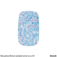 Blue pattern flowers and pink curves minx® nail wraps