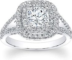 Double Halo Split Shank Diamond engagement Ring. My dream ring!