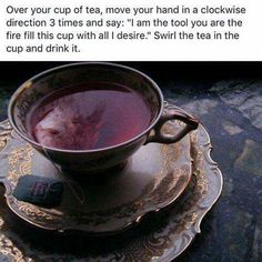Witchy tip! I do this when I make tea or coffee except I usually just focus on what I want through intentions rather than vocally speaking…