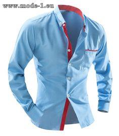 Baumwoll Herren Hemd in Blau