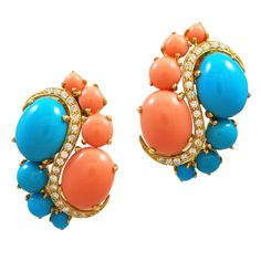Turquoise Coral Diamond Ear Clips | From a unique collection of vintage clip-on earrings at http://www.1stdibs.com/jewelry/earrings/clip-on-earrings/