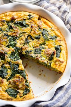 This sausage, leek and spinach quiche is packed with all your favorites for tons of flavor!  It starts with an easy sweet potato crust that's topped with savory sausage, leeks and spinach in a creamy dairy-free egg mixture, then baked to perfection. Paleo and Whole30 compliant.