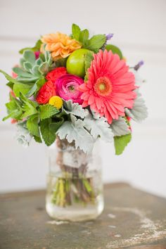 bright summer flowers, photo by David Pascolla http://ruffledblog.com/santa-margarita-ranch-wedding #bouquet #florals