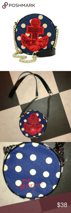 Nautical Crossbody Great length for crossbody! EUC used once..no flaws. Canvas with chain and faux patent leather strap. Red sequin anchor. Betsey Johnson Bags Crossbody Bags