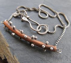 Short Necklace Choker Sterling Copper Mixed Metal stick by artdi, $175.00