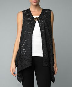 Take a look at this Black Cutout Single-Button Vest by Kaktus on #zulily today!