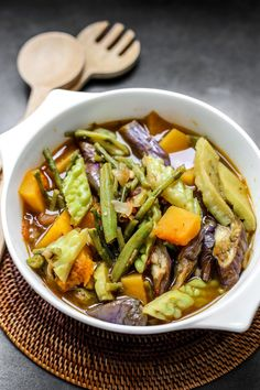 """Pinakbet or pakbet is a popular vegetable dish in the Philippines which originated in Ilocos Region, the word pinakbet is derived from the Ilocano word pinakebbet, meaning """"shrunk"""" or """"shrivelled"""". Veggie Recipes, Fish Recipes, Asian Recipes, Ethnic Recipes, Asian Foods, Filipino Dishes, Filipino Recipes, Filipino Food, Kitchens"""
