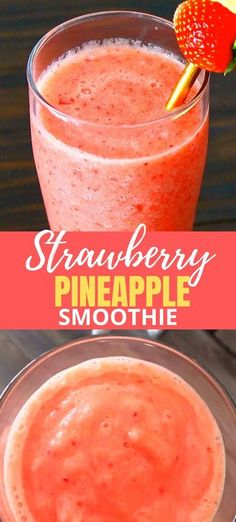 A lovely Strawberry Pineapple Smoothie recipe that is made without yogurt. Such the perfect quick breakfast or afternoon snack idea that you can feel good about!    #strawberries #pineapple #smoothierecipe Pineapple Smoothie Recipes, Smoothie Recipes With Yogurt, Healthy Breakfast Smoothies, Yummy Smoothies, Strawberry Recipes, Healthy Strawberry Smoothie, Yogurt Smoothies, Strawberry Breakfast, Homemade Smoothies