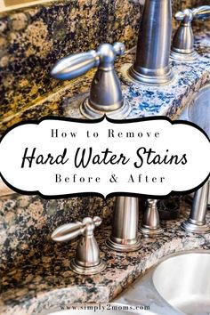 Want to remove those stubborn hard water stains from your granite counter tops? Our simple tutorial gets the job done without using any harsh chemicals. #simply2moms #granite #hardwaterstains #cleaningtips #hardwater #mineraldeposits #granite How To Clean Granite, Affordable Storage, Hard Water Stains, Counter Tops, Granite Countertops, Diy Tutorial, Cleaning Hacks, Meal Planning, Simple